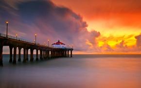 Обои пляж. море, штиль, закат. пирс, огни