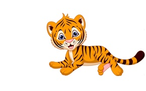 Картинка тигр, фон, малыш, арт, детская, тигруша