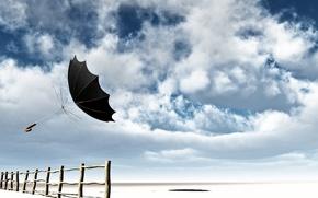 Обои небо, облака, ветер, забор, зонт, полёт, спицы