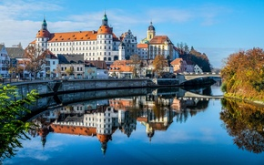 Обои Ньюбург, мост, церковь, Германия, замок, Бавария, Дунай, река