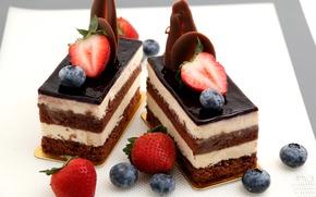 Картинка шоколад, черника, клубника, пирожное, десерт, сладкое