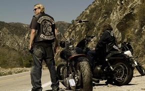 Картинка мотоцикл, сериал, байкер, charlie hunnam, sons of anarchy, чарли ханнэм