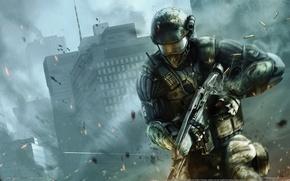 Картинка Город, Оружие, Боец, Crysis 2, Кризис, Crytek