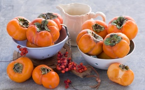 Обои ягоды, посуда, натюрморт, доска, оранжевые, кувшин, хурма
