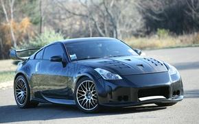 Обои Черный, Дорога, Узор, Nissan 350z