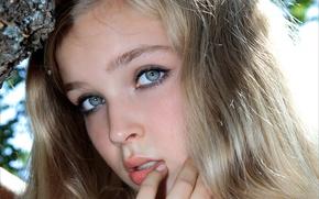 Картинка девушка, лицо, милая, модель, волосы, блондинка, красивая, симпатичная, Sienna