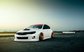 Обои Subaru, Impreza, WRX, Sky, STI, Front, White, Stance, Low