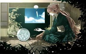 Картинка небо, вода, девушка, облака, дом, растения, арт, кимоно, vocaloid, вокалоид, rakeru, fleedo