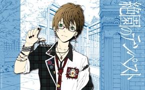 Картинка рисунок, очки, эмблема, цепочка, браслеты, art, зеленые глаза, значки, zetsuen no tempest, ren saizaki, yoshino …