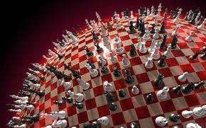 Обои красный, шар, Шахматы