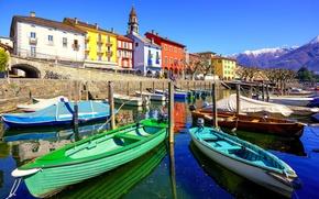 Обои Швейцария, горы, причалы, дома, Ascona, лодки, озеро, солнце, небо, набережная, пейзаж, Ticino