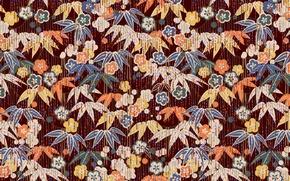 Картинка листья, цветы, фон, обои, текстуры, гирлянды, орнамент, висюльки