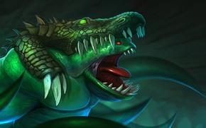 Картинка зубы, крокодил, арт, шкура, Dota 2, Leviathan, Tidehunter
