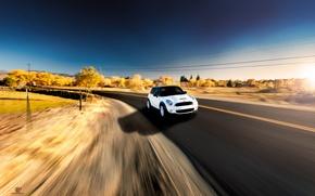 Картинка дорога, белый, скорость, Cooper, мини, купер, MINI