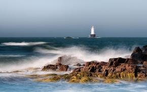 Картинка океан, побережье, маяк, США, lighthouse, New England, Rhode Island, Род-Айленд