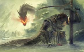 Картинка снег, скалы, огонь, дракон, меч, воин, арт, доспех, skyrim