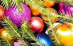 Обои рождество, новый год, шары, елка
