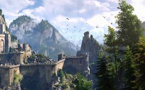 Картинка небо, деревья, горы, обои, игра, RPG, The Witcher 3: Wild Hunt, Ведьмак 3: Дикая Охота, …