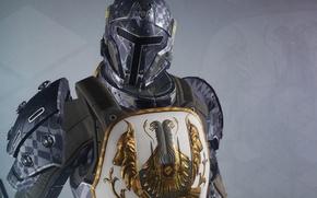 Картинка фон, воин, арт, шлем, броня, герб, Destiny
