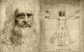 Картинка рисунок, художник, леонардо да винчи, ученый, витрувианский человек