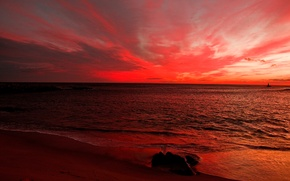 Картинка песок, море, небо, облака, берег, камень, вечер, горизонт, зарево