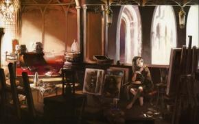Картинка девушка, свет, стол, комната, книги, картина, босиком, арт, стул, витраж, арка, палитра, сидит, кисть, мольберт