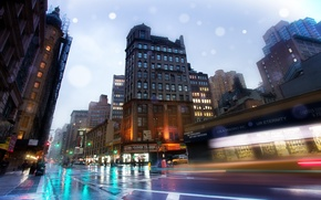 Картинка нью-йорк, new york, usa, бродвей, nyc, Slick Streets, Broadway, Rainy Night