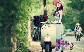 Картинка girl, vintage, beautiful, model, spring, vespa, asian