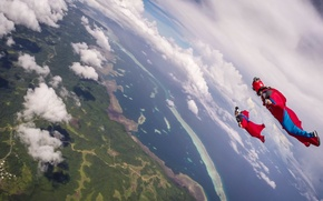 Картинка море, облака, остров, парашют, контейнер, тени, шлем, камеры, пилоты, экстремальный спорт, formation, вингсьют