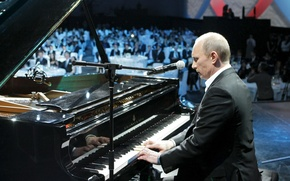 Обои владимир путин, микрофон, обои, музыка, играет, премьер-министр россии, президент россии, Путин, пианино