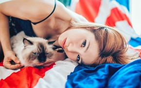Картинка кошка, девушка, фон