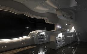 Картинка космос, будущее, комната, корабль, стулья, луч, арт, иллюминатор, помещение