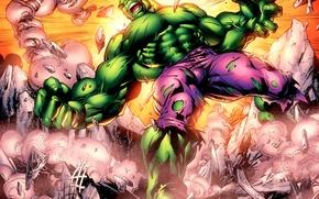 Картинка гнев, зеленый, крушение, ярость, разрушение, Hulk, халк, marvel, комикс, comics