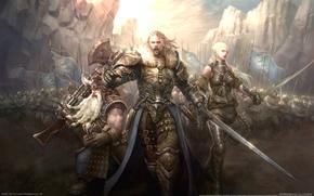Картинка оружие, эльф, человек, легион, воины, гном