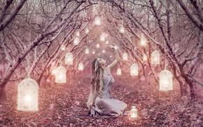 Обои аллея, фонарики, девушка, Magic Lanterns, Alessandro Di Cicco