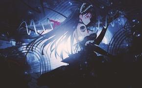 Картинка девушка, оружие, череп, меч, аниме, тату, арт, лента, dinocojv