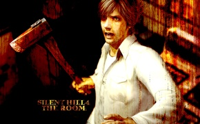 Картинка мрак, мужчина, рубашка, топор, Horror, KONAMI, Henry Townshend, Silent Hill 4:The Room
