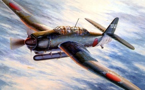 Картинка небо, рисунок, арт, японский, палубный, WW2, бомбардировщик-торпедоносец, Aichi B7А Rusei, Аичи В7А Рюсей