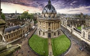Картинка небо, улица, Великобритания, United Kingdom, Oxford, библиотека имени Бодлея, Bodleian Library