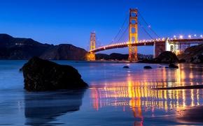 Картинка вода, мост, город, пролив, отражение, камни, вечер, освещение, Калифорния, Сан-Франциско, Золотые Ворота, USA, США, Golden ...
