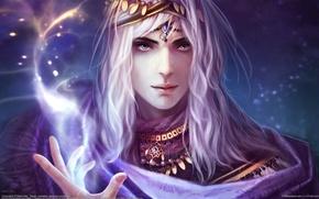 Картинка свет, магия, фэнтези, искры, дымка, маг, fantasy, заклинание, magic, CG wallpapers, волшебник, Nakai Wen, Conjuration, ...