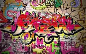 Картинка стена, краски, граффити, кирпичи