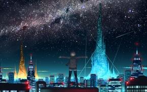Обои крыша, небо, ночь, город, огни, аниме, девочка