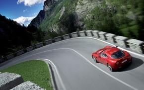 Обои авто, дорога, alfa-romeo, скорость, природа