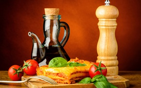 Картинка листья, кувшин, помидоры, салат, специи, meat, tomato, Baking, Still-life, лазанья