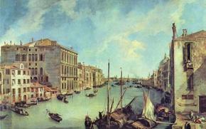 Картинка здания, картина, лодки, архитектура, гранд канал, антонио каналь, ведута, антонио каналетто, большой канал в сан …