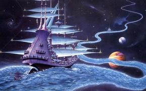 Картинка река, планеты, корабль, звёзды, миры, Rodney Matthews, путешествие, The Ether Stream