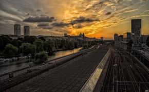 Картинка закат, город, stockholm