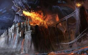 Картинка мост, замок, огонь, дракон, арт, гигантский, Chengyong Wang