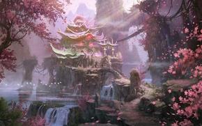 Картинка деревья, пейзаж, горы, скалы, азия, весна, арт, храм, водопады, цветение